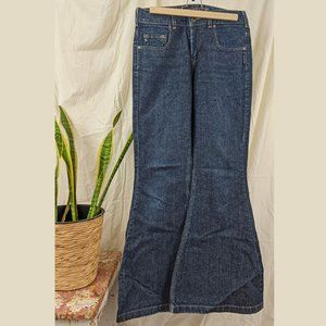 VINTAGE Silver High Wsted Bell Bottom Jeans Sz 29